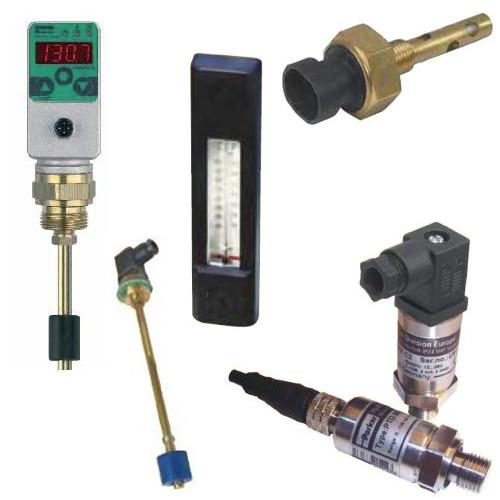 Hydraulická čidla a indikátory - tlakoměry, hladinoměry