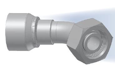0C - koncovka DKOS středotlaká 45°úhlová s objímkou a s maticí