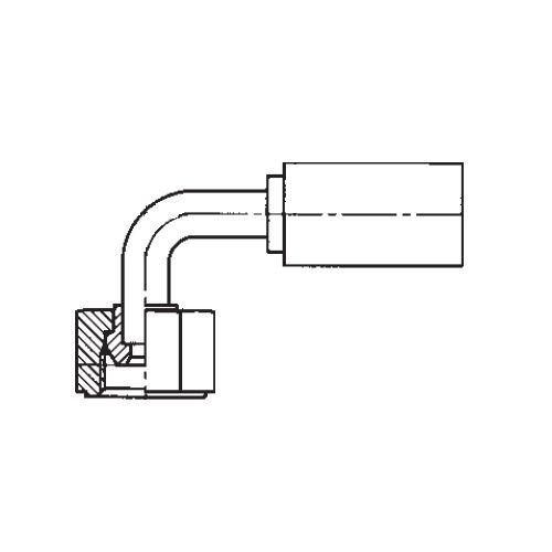 1B2PX - POLYFLEX koncovka 90°úhlová s objímkou DKR s maticí