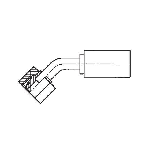 1CEPX - POLYFLEX koncovka 45°úhlová s objímkou DKOL s maticí