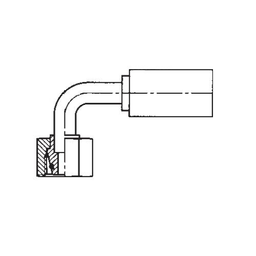 1CFPX - POLYFLEX koncovka 90°úhlová s objímkou DKOL s maticí