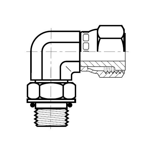 AOEL6 - hydraulická 90°úhlová spojka s otočnou maticí O-Lok