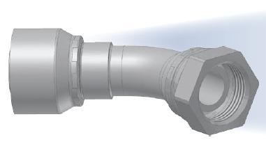 B1 - koncovka DKR středotlaká 45°úhlová s objímkou a s maticí