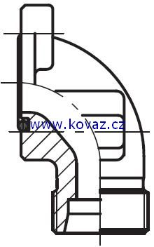 BFW - hydraulická 90°úhlová příruba šroubení zubového čerpadla
