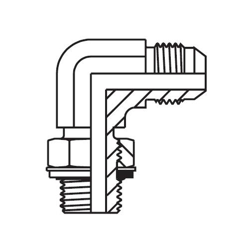 C4OMX - hydraulická stavitelná 90°úhlová spojka Triple-Lok® 37°