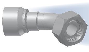 C4 - koncovka DKL středotlaká 45°úhlová s objímkou a s maticí