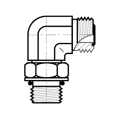 C5OMLO - hydraulická 90°úhlová spojka šroubení O-Lok