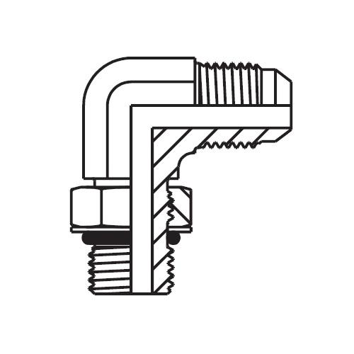 C5OMX - hydraulická stavitelná 90°úhlová spojka Triple-Lok® 37°