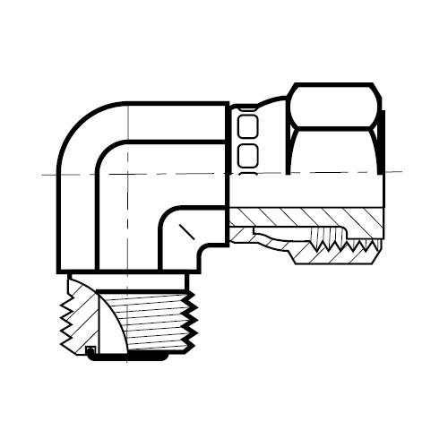 C6MLO - nerezová 90°úhlová spojka s otočnou maticí O-Lok