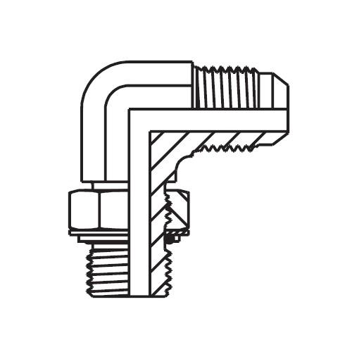 C8OMX - hydraulická 90°úhlová spojka Triple-Lok® 37°