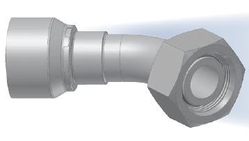 CE - koncovka DKOL středotlaká 45°úhlová s objímkou a s maticí