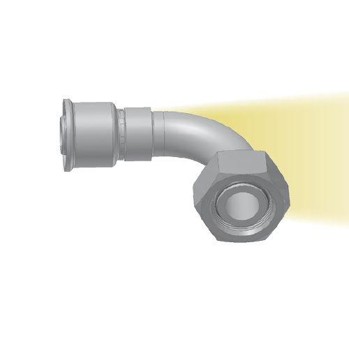 CF - koncovka DKOL nízkotlaká 90°úhlová s objímkou a maticí