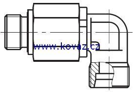 DG 104-R - hydraulické 90°ůhlové rotační šroubení s ložiskem