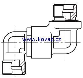 DG 105 - dvojité 90°ůhlové rotační šroubení s kulovým ložiskem