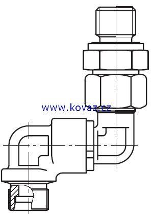 DG 106-M - dvojité 90°ůhlové rotační šroubení s ložiskem