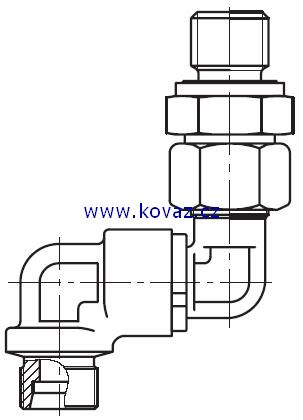 DG 106-R - dvojité 90°ůhlové rotační šroubení s ložiskem