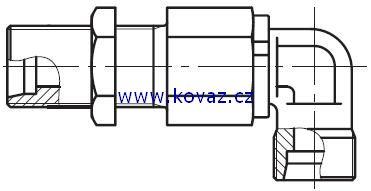 DG 108 - rotační 90°ůhlové šroubení do panelu s ložiskem