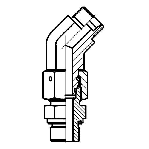 EV-M-ED - stavitelná 45°úhlová spojka s těsnícím kuželem
