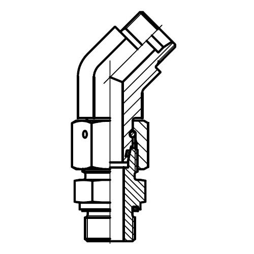 EV-R-ED - stavitelná 45°úhlová spojka s těsnícím kuželem