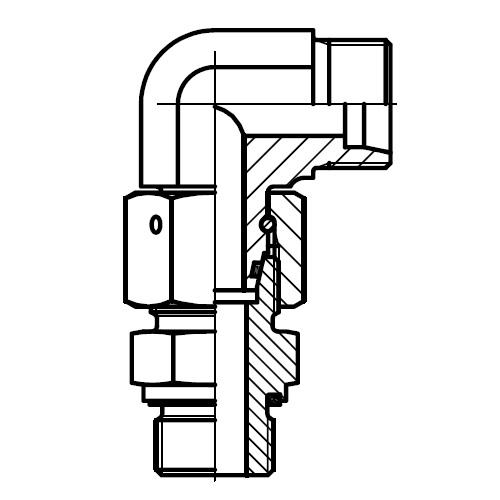 EW-M-ED - stavitelné 90°úhlové hrdlo šroubení s kuželem