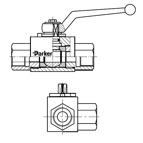 KH3\2-BSPP(S) - trojcestný kompaktní ruční kulový kohout