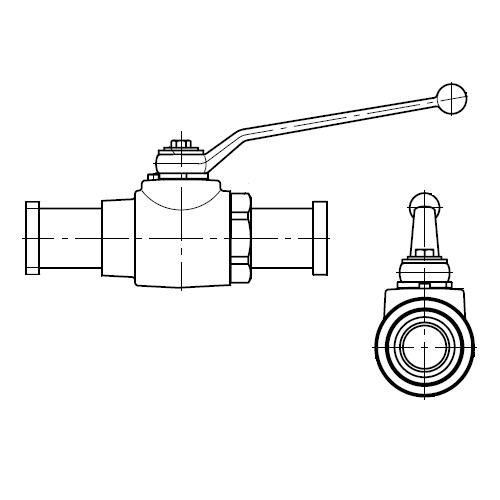 KH-A-S - dvoucestný kulový kohout s připojením adaptéru příruby