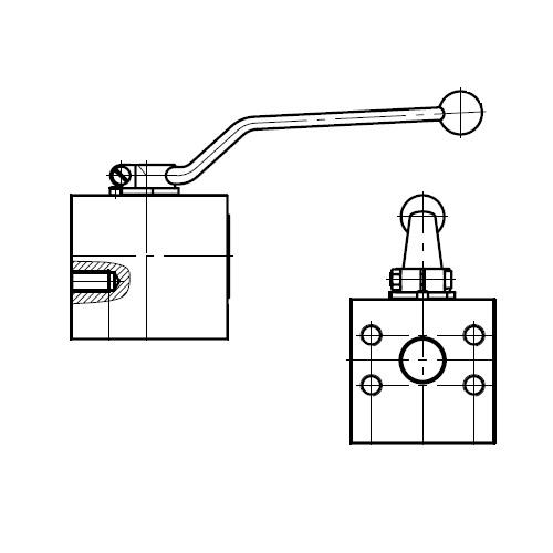 KH-B2V-S - dvoucestný ruční kulový kohout s přírubou
