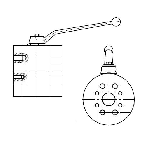 KH-B3V-S - dvoucestný ruční kulový kohout s přírubou