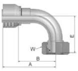 11C43 - koncovka DKOS středotlaká nerezová 90°úhlová s maticí