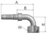 K1CV4 - koncovka DKOS vysokotlaká 90°úhlová s maticí