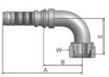 KB2V6 - koncovka DKR vysokotlaká 90°úhlová s maticí