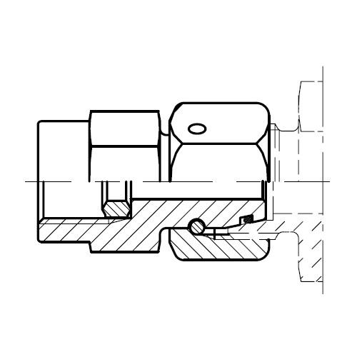 MAVE - přípojka k manometru s kovovým těsnícím kroužkem