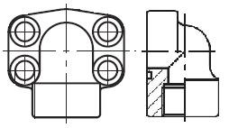 PEFF-G - hydraulická vysokotlaká 90°ůhlová příruba šroubení