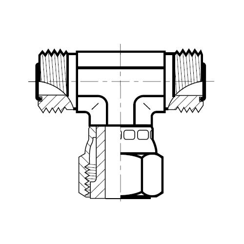 S6MLO - hydraulická T spojka s otočnou maticí O-Lok