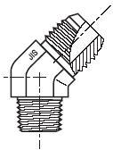V3T4 - hydraulický 45°úhlový adaptér redukovaný