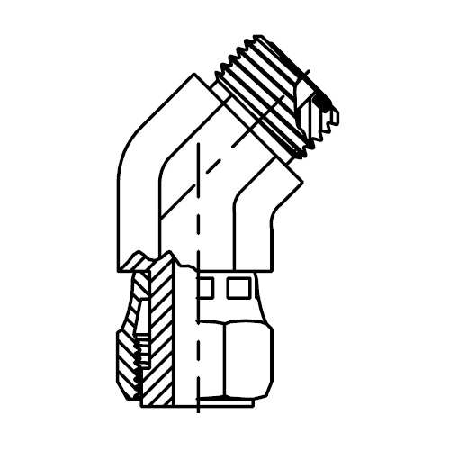 V6LO - hydraulická 45°úhlová spojka s otočnou maticí O-Lok