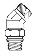 V8OMLO - hydraulická 45°úhlová spojka O-Lok