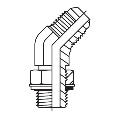 V8OMX - hydraulická 45°úhlová spojka Triple-Lok® 37°