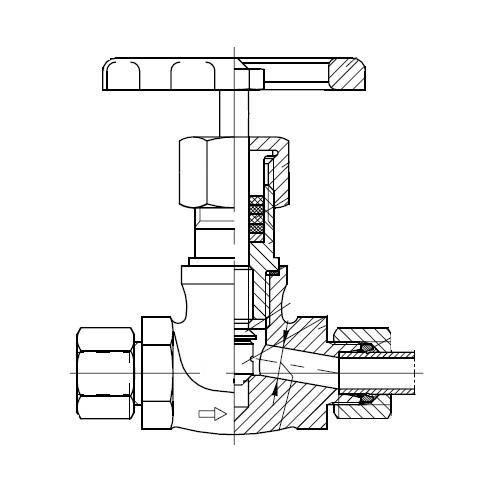 VDHA - dvoucestný vysokotlaký nerezový uzavírací ruční ventil