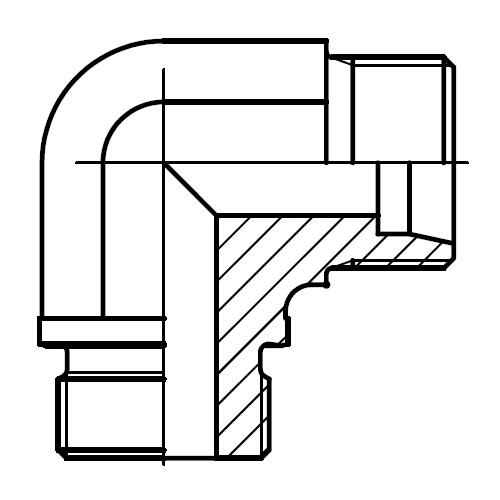 WE-M - hydraulické 90°úhlové hrdlo s těsnící hranou