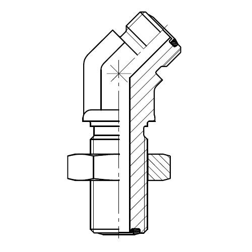 WNLO - hydraulická 45°úhlová spojka šroubení