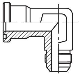 XEMQ - hydraulický 90°ůhlový adaptér příruby šroubení